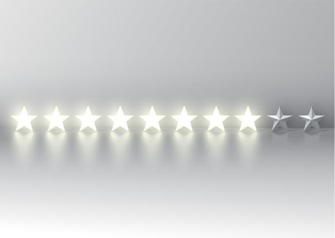 Åtta stjärnor med glödande 3D-stjärnor, vektor illustration