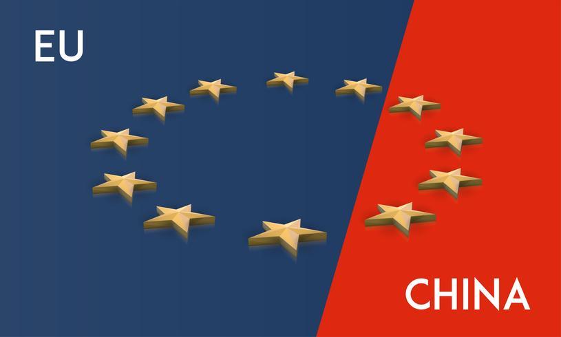 Europeiska unionen och Kina flaggan slogs samman i en vektor