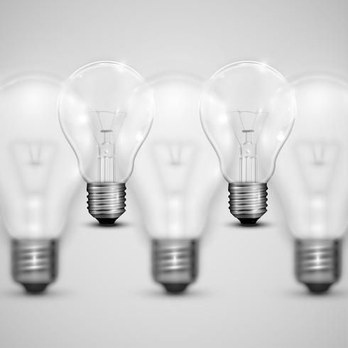 Realistiska glödlampor med suddiga, vektor illustration