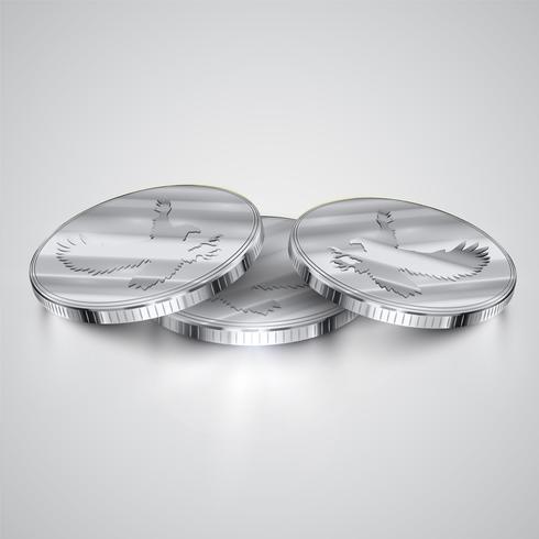Realistiska mynt, vektor illustration