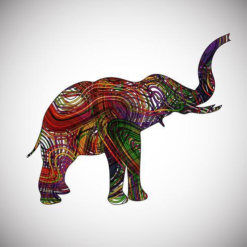 Färgglada elefant gjord av linjer, vektor illustration