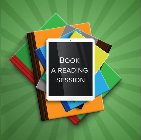 Färgglada böcker och en e-bokläsare / tablett, vektor