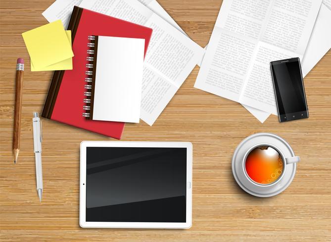 Realistischer Schreibtisch mit verschiedenen Gegenständen, Vektorillustration vektor