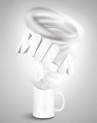 Mjölk yoghurt / dryck i en kopp, realistisk vektor illustration