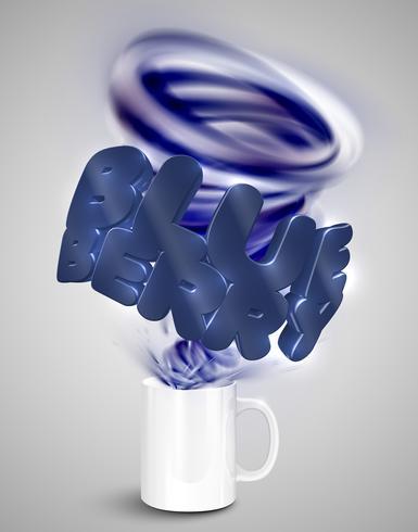 Blåbär yoghurt / dryck i en kopp, realistisk vektor illustration