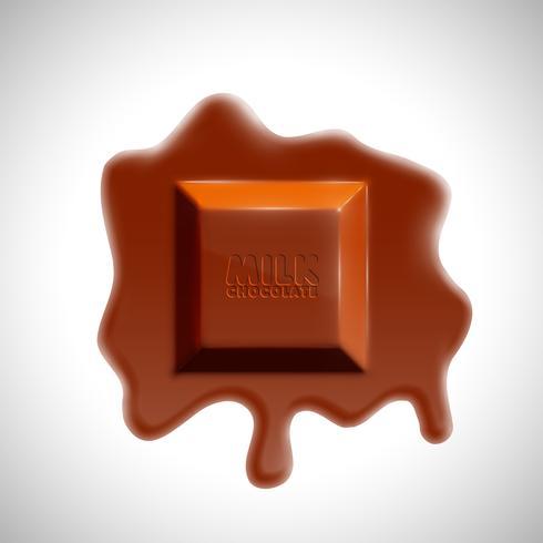 Schmelzender realistischer Schokoladenwürfel 3D, Vektor