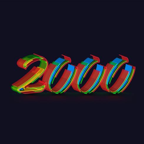 3D färgglada tecken från en fontset, vektor