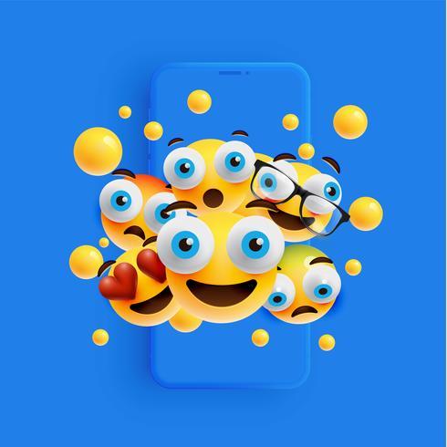 3D und verschiedene Arten von Emoticons mit Matt-Smartphone, Vektor illustartion