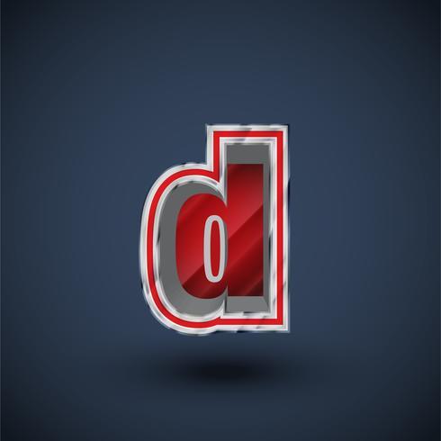 3D rött stål teckensnitt tecken, vektor
