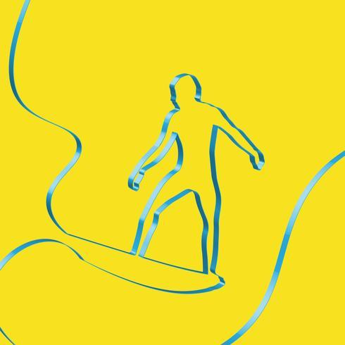 Färgrikt band formar en surfer, vektor