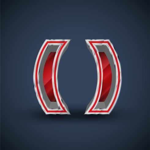Roter Schrifttyp des Stahls 3D, Vektor