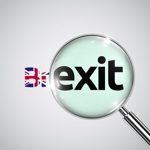 Brexit-Text mit BRITISCHER Flagge und einem Vergrößerungsglas, Vektor