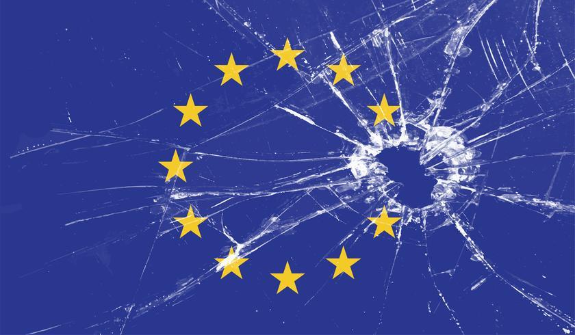 Großbritanniens Stern schoss von der EU-Flagge, Vektorillustration vektor