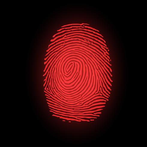 Rött fingeravtryck på svart bakgrund, vektor illustration