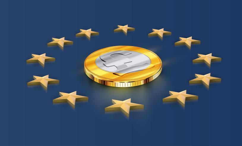 Europeiska unionen flagga stjärnor och pengar (pund), vektor