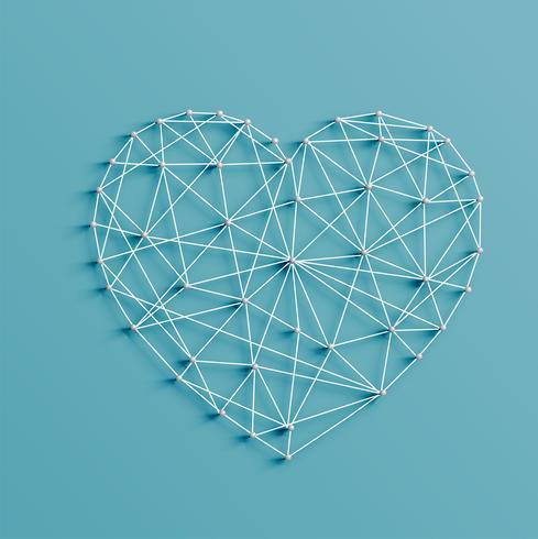 Realistisk illustration av ett hjärta som gjorts av stift och strängar, vektor