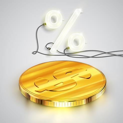 Realistische Münzen mit Neonprozentsatz, Vektorillustration vektor