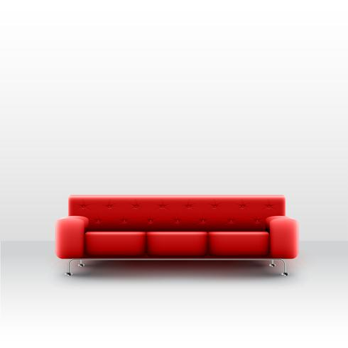 Eine realistische rote Couch in einem weißen Raum, Vektor
