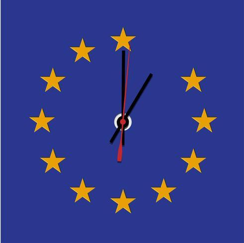 Brexit-Uhr, fehlender Stern von der EU-Flagge, Vektor