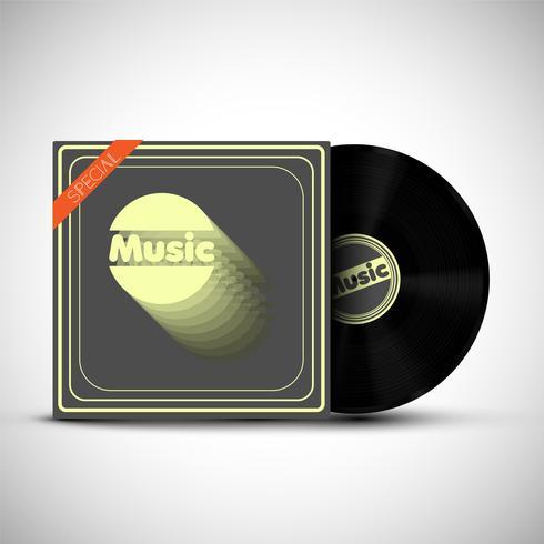 Ein Vinyl mit seiner Abdeckung auf weißem Hintergrund, Vektor