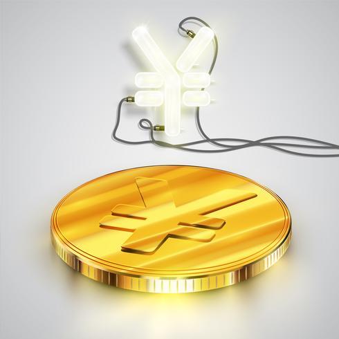 Münze mit Neoncharakter, vektorabbildung vektor