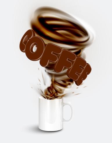 En kopp en realistisk varm kaffe med en stor virvel, vektor