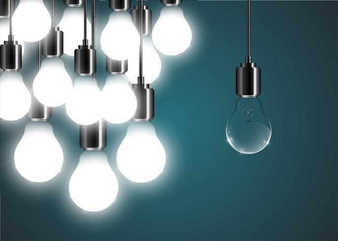 Kreative Glühlampenillustration auf einem blauen Hintergrund, Vektor