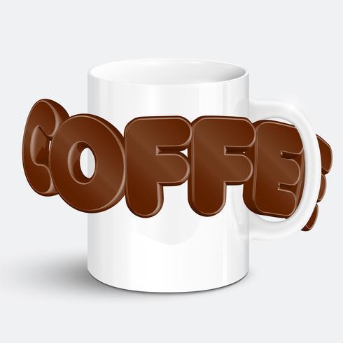 En kopp en realistisk varm kaffe, vektor