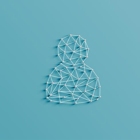 Realistische Abbildung einer Zahlikone gemacht durch Stifte und Schnüre, Vektor
