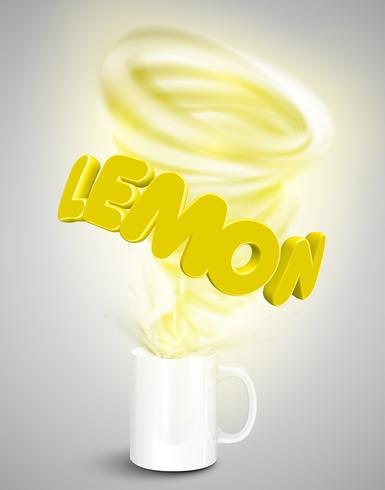 Citron yoghurt / dryck i en kopp, realistisk vektor illustration