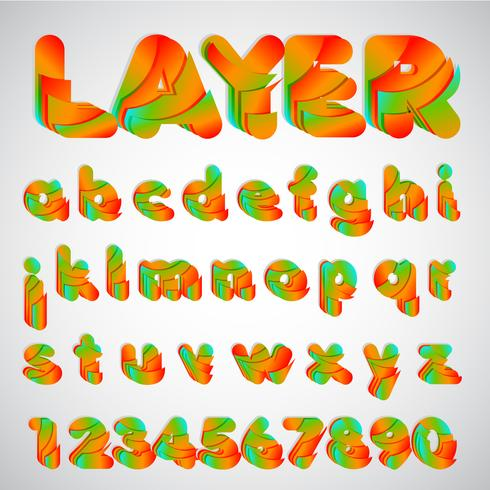 Layered färgstark typsnitt, vektor illustration