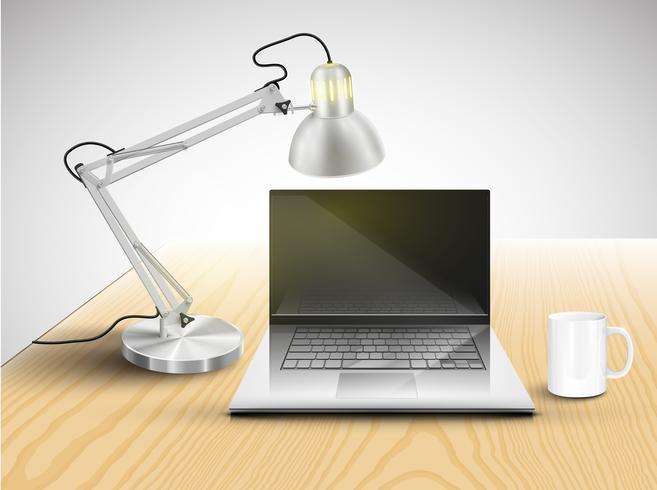 Realistiskt skrivbord med olika föremål, vektor illustration