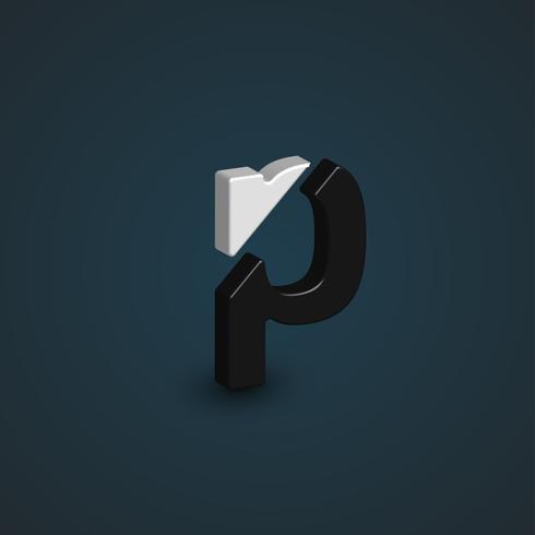 3D svartvitt tecken från en teckensnitt, vektor illustration