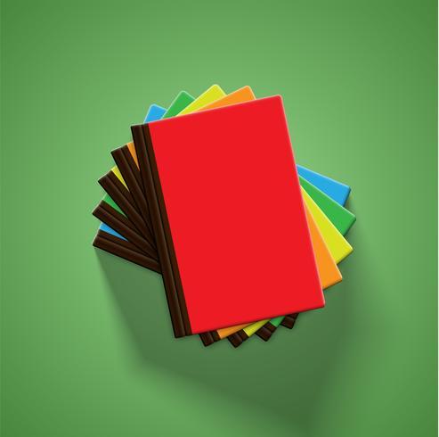 Realistische bunte Bücher mit grünem Hintergrund und Schatten, Vektorillustration vektor