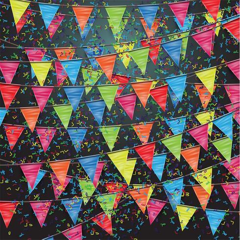 Festlig bakgrund med flaggor, vektor