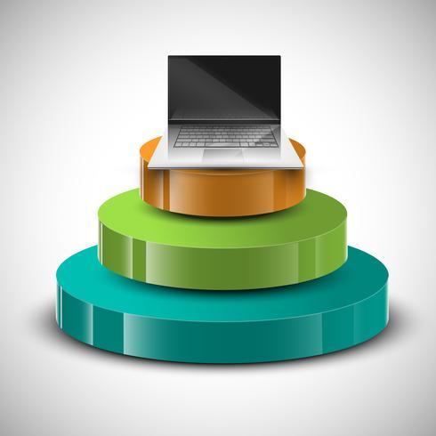 3D infographic vektor design med anteckningsbok på toppen