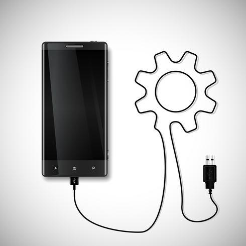 Mobiltelefon med USB-anslutning vektor