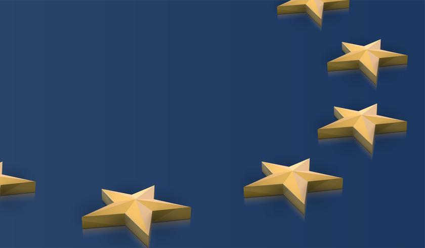 Europeiska unionen flagga stjärnor i 3D, vektor