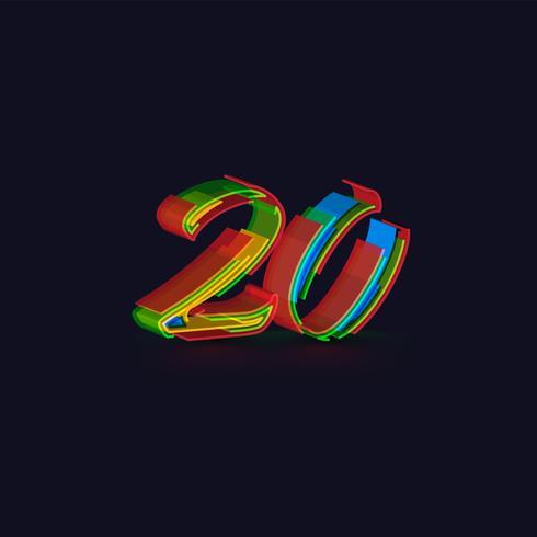 Bunter Charakter 3D von einem fontset, Vektor