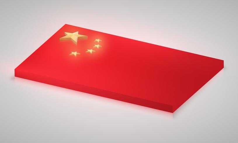 Kina flagga i 3D, vektor
