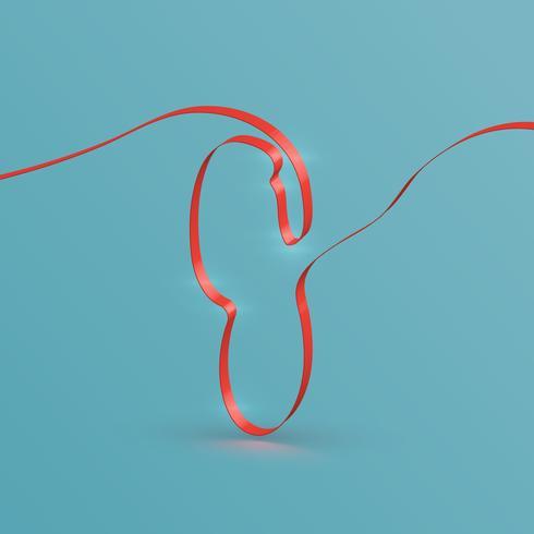 Realistischer Bandschrifttyp von einem Schriftsatz, Vektor