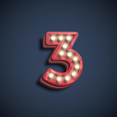 Realistiskt nummer tecken med lampor, vektor illustration