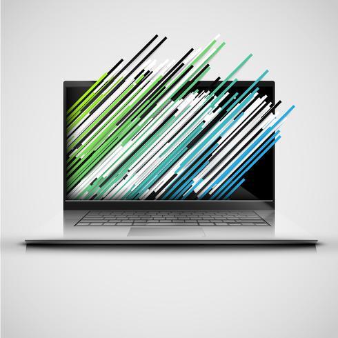 En dator med abstrakta och färgglada banor, vektor