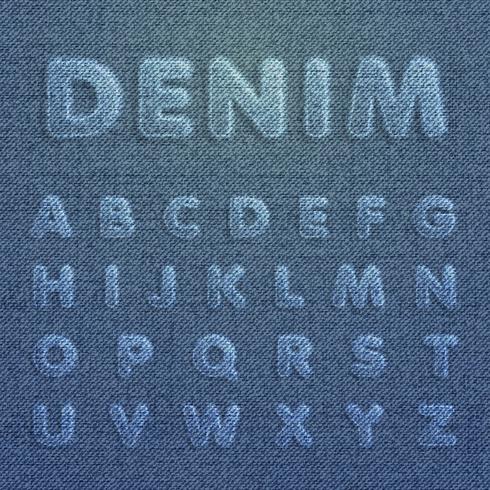Teckenuppsättning gjord av denim, från en typsnitt, vektor