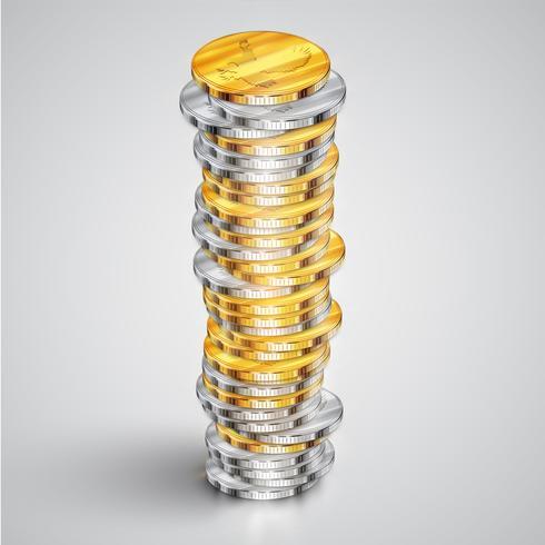 Realistische Münzen, Vektorillustration vektor
