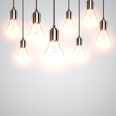 Realistiska lightbulbs hänger och arbetar, vektor