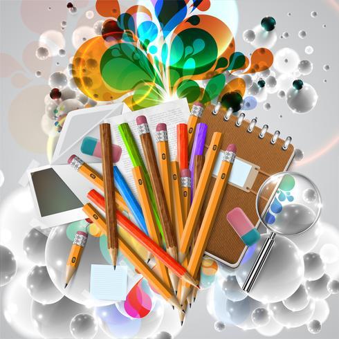 Büro- oder Schulmaterial und Einzelteile auf weißem Hintergrund, Vektor