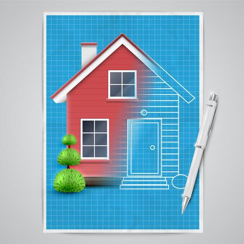 Realistisches Haus mit einem Plan, Vektor