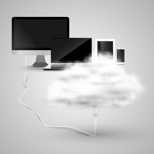 Geräte verbinden sich mit der Cloud vektor