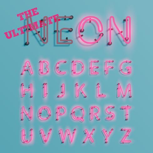 Realistischer rosafarbener Neonzeichensatz, Vektor